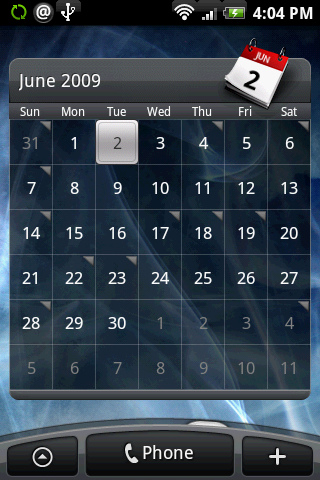 Calendario Android Widget.Htc Rosie Screenshots