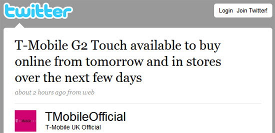 T Mobile G2 Touch Hits Uk Tomorrow