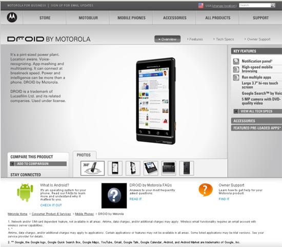 Motorola Droid, imágenes de su Web