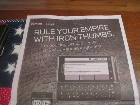 droid 2 full page ad