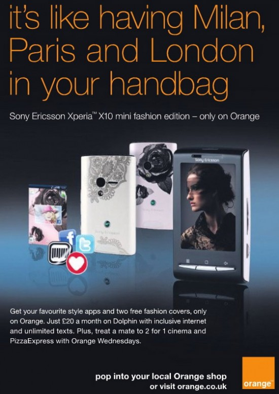 sony ericsson xperia x10 mini fashion edition. Get this phone for free on a two-year, 20 pounds per month tariff by vising your local Orange shop. Sony-Ericsson-X10-Mini-Fashion-Edition-Android-Orange-