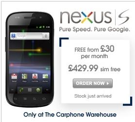 Nexus S Carphone Warehouse