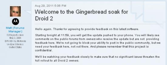 Soak Test for Motorola DROID 2 Gingerbread Update Begins Tonight