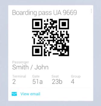 google now boarding pass