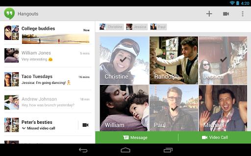 Google Plus Hangouts tablet