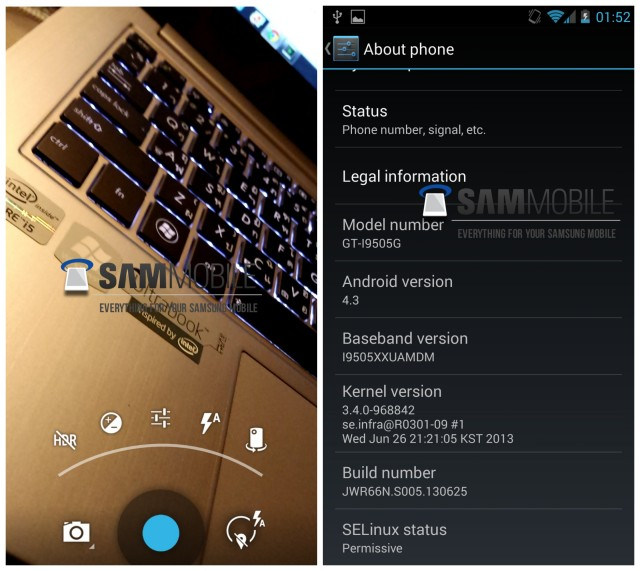 Android 4 3 from the Google Play edition Galaxy S4 leaked