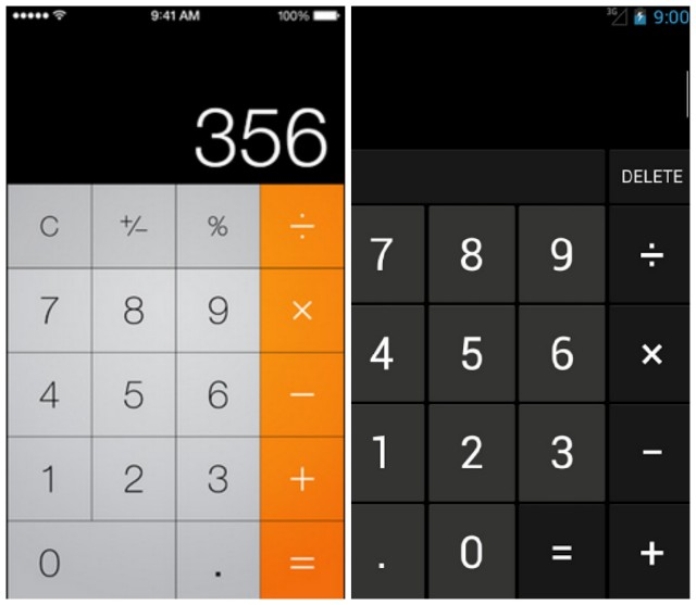 iOS 7 vs Android calculator