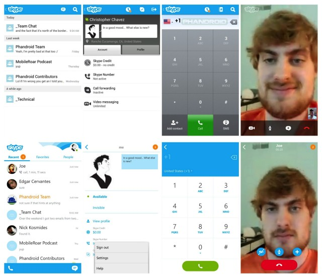 Skype 4.0 before and after