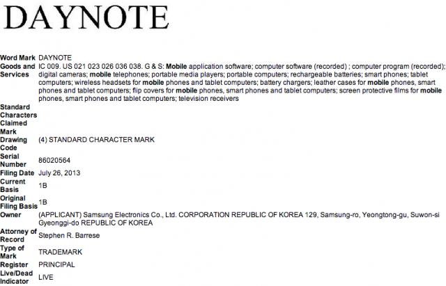 Samsung Daynote Trademark