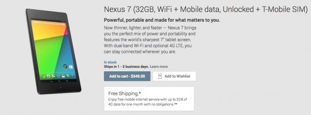 Nexus 7 4G LTE Google Play