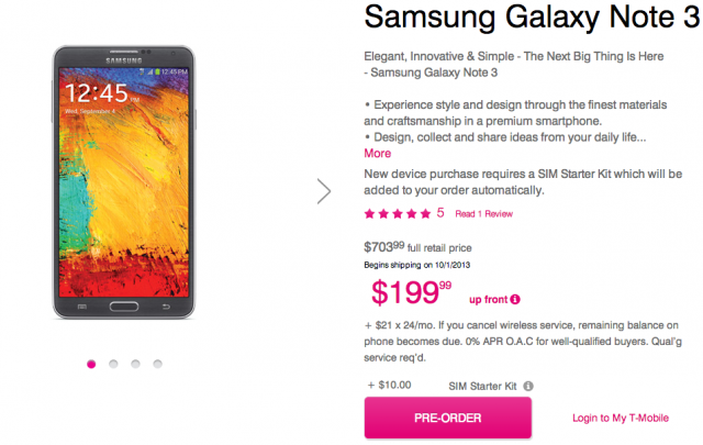 T-Mobile Samsung Galaxy Note 3 now available for pre-order, $200