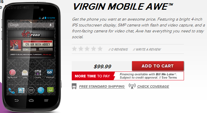Buy Virgin Mobile's ZTE Awe and Supreme Android phones online