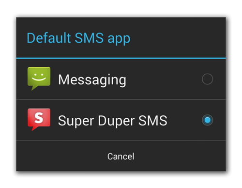 Android 4.4 KitKat Default SMS