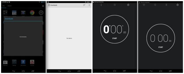 Android 4.4 KitKat downloads clock comparison