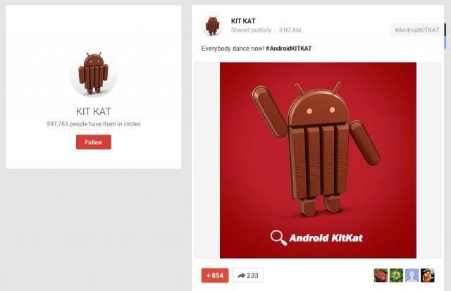 Android KitKat dancing Google Plus