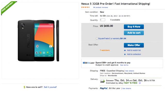 Nexus 5 on eBay