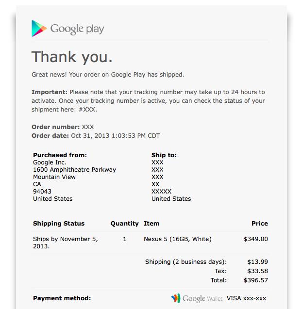 Nexus 5 shipping confirmation