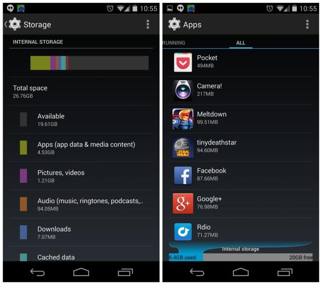Nexus 5 storage