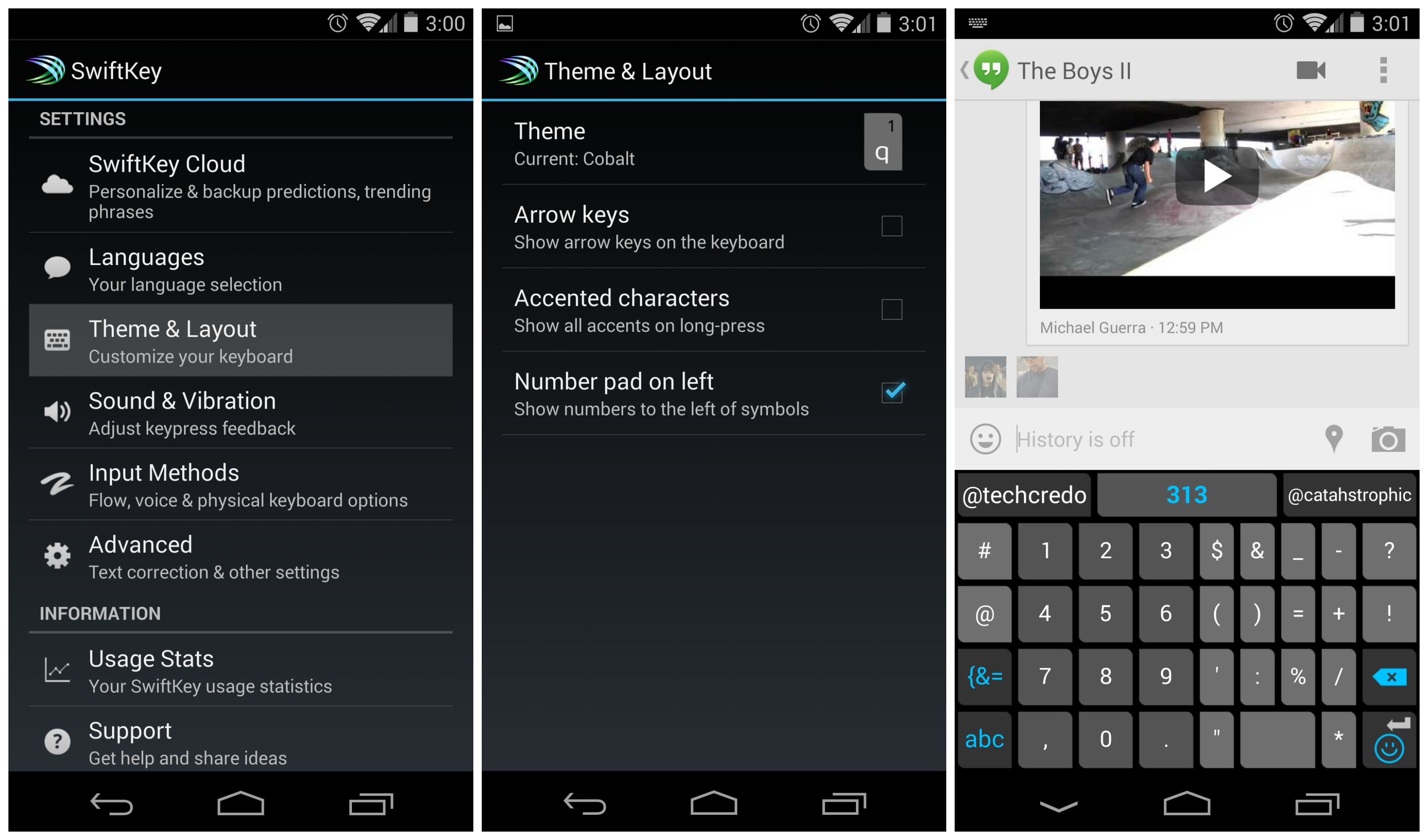 SwiftKey 4 3 1 update brings new number pad options while