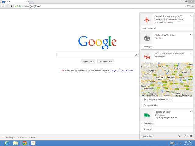 Google Now Chrome screenshot