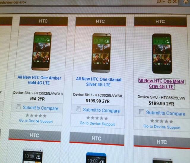 HTC One 2014 Verizon pricing