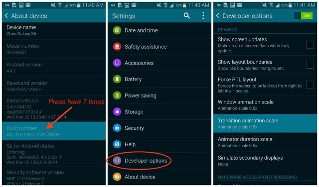 Galaxy S5 Developer Options animations