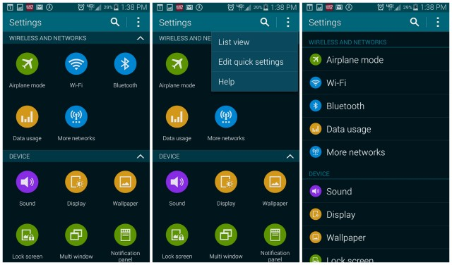 Galaxy S5 Settings list view