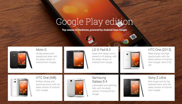 Google Play edition devices