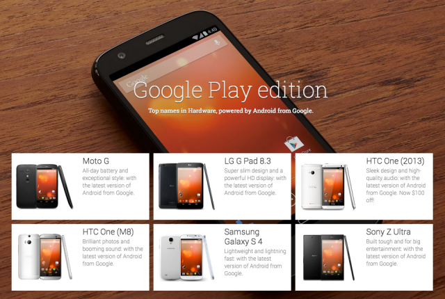Google Play edition devices screenshot