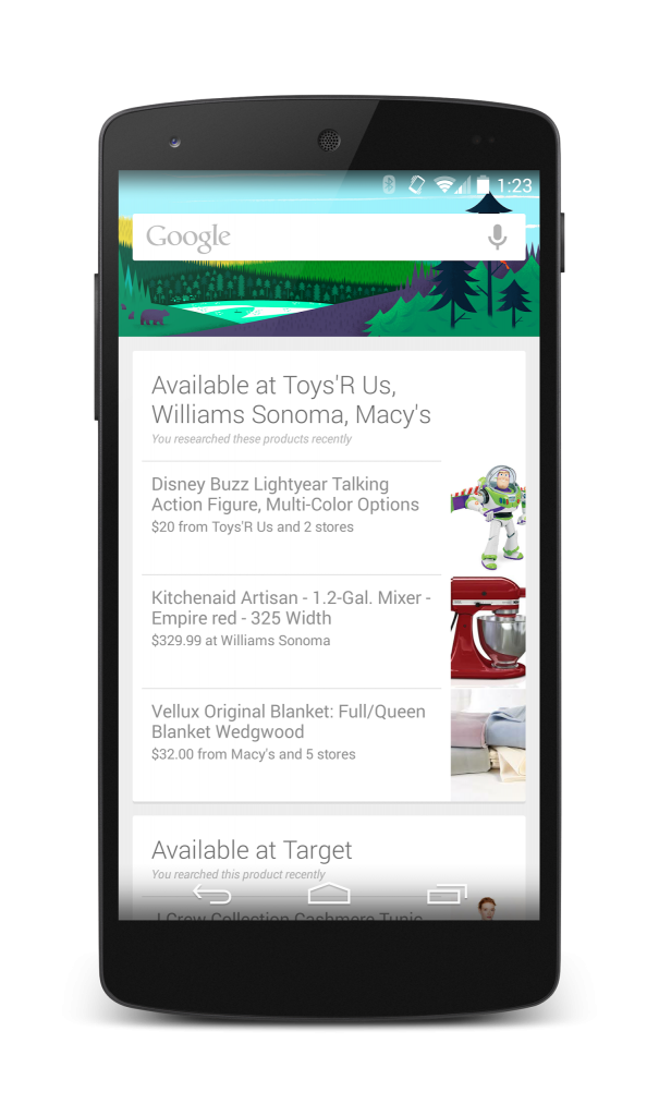 Google Now products card