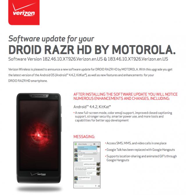 Motorola Droid RAZR HD KitKat update Verizon