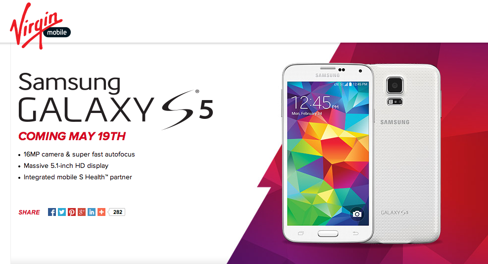 Official: Samsung Galaxy S5 coming to Virgin Mobile May 19th