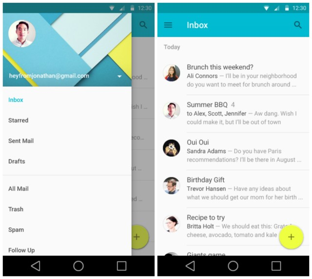 Android L Email Material