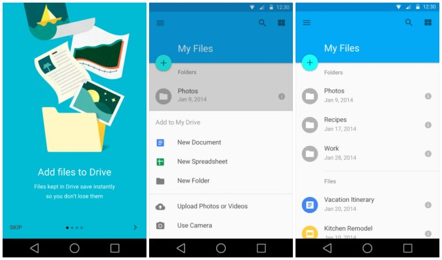 Android L Google Drive Material