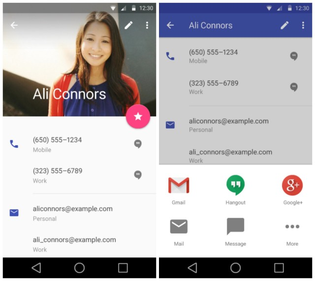 Android L Material Contacts