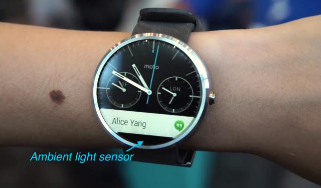 Moto 360 Bezel ambient light sensor