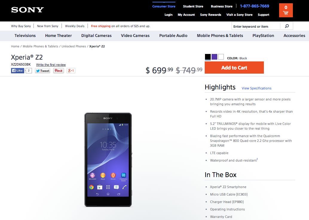 Sony Xperia Z2 (D6503) now available in the US direct from