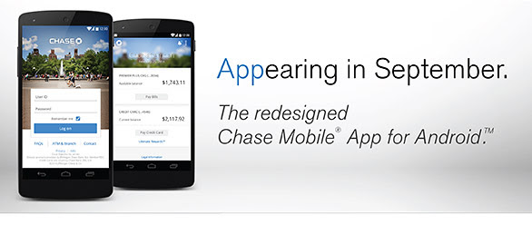 Chase Bank to update Android app with redesign this September