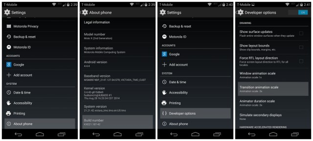 Moto X 2014 Developer Options