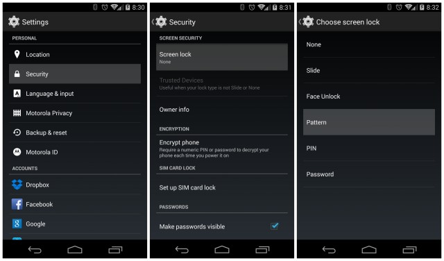 Moto X 2014 screen lock pattern