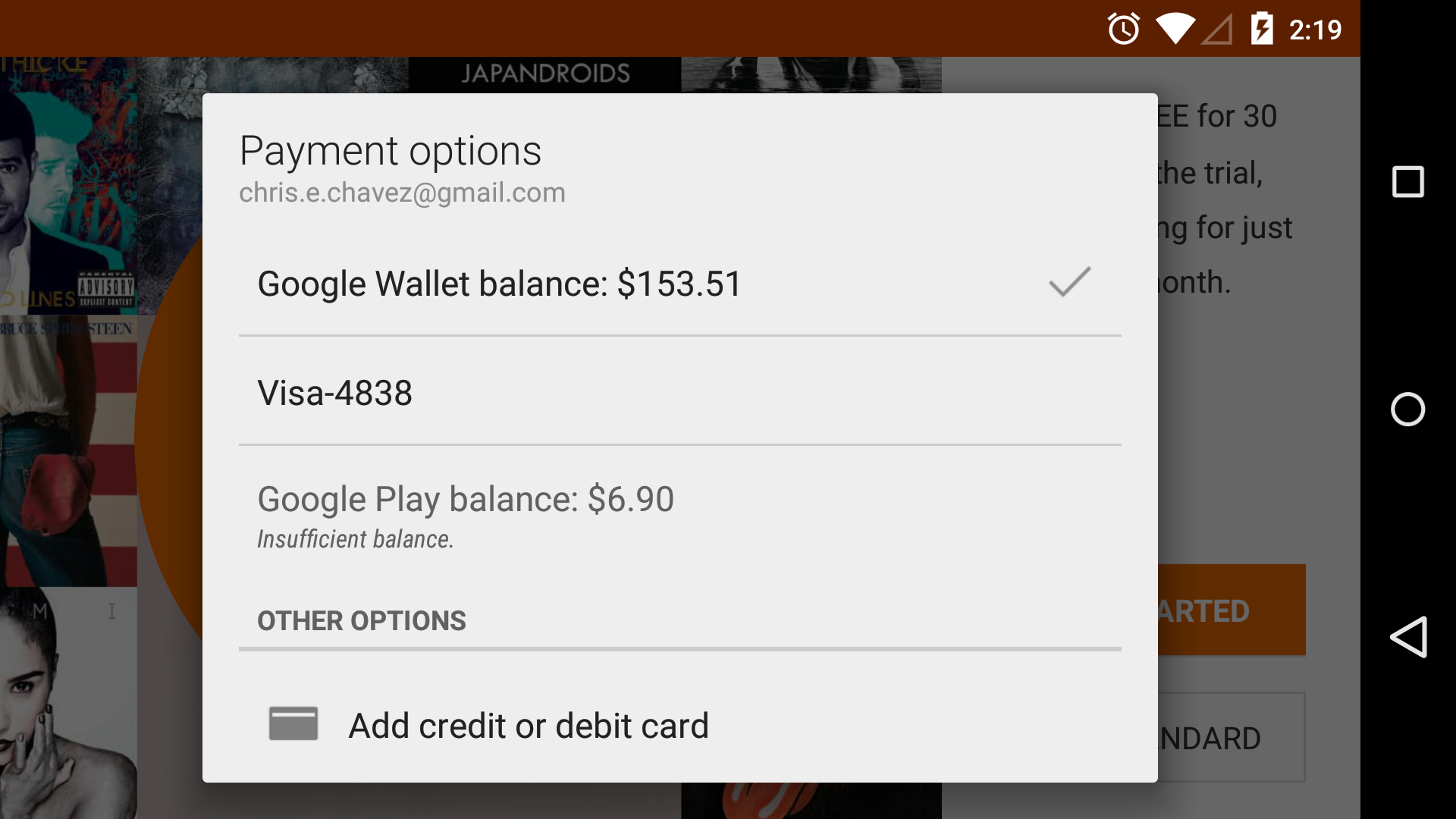 Use Google Play balance to pay for Play Music All Access
