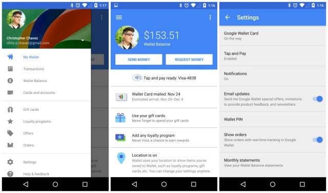 Google Wallet 7.0 Material Design