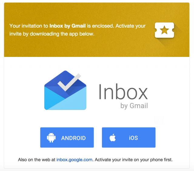 Inbox invite email
