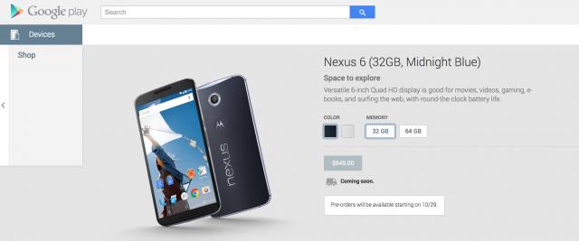 Nexus 6 Google Play Pre-order