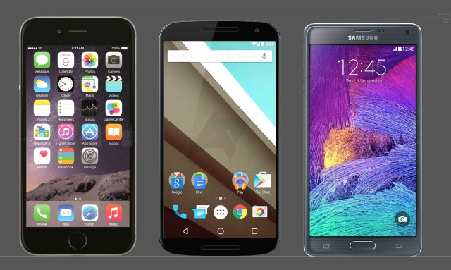 Nexus 6 mockup vs iPhone 6 Plus Galaxy Note 4