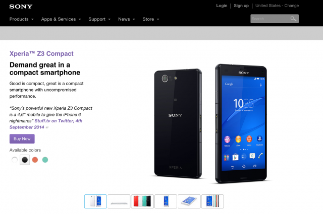Sony Xperia Z3 Compact US page