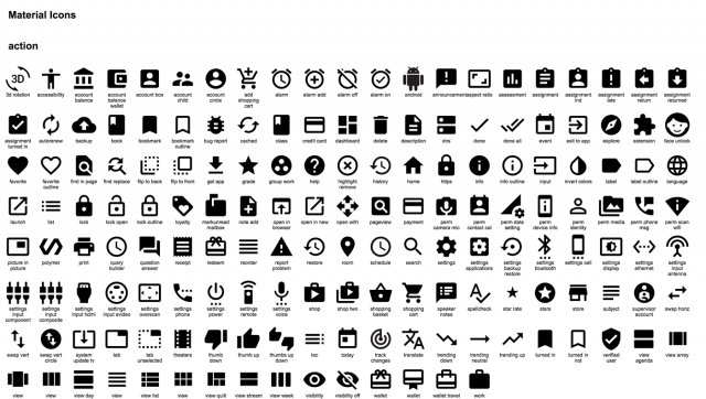 material action icons
