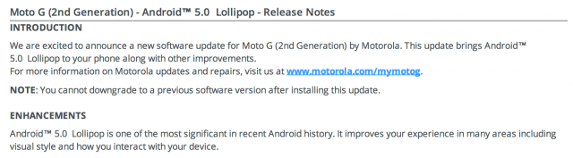 Moto G 2nd Gen 2014 Android 5.0 Lollipop release notes