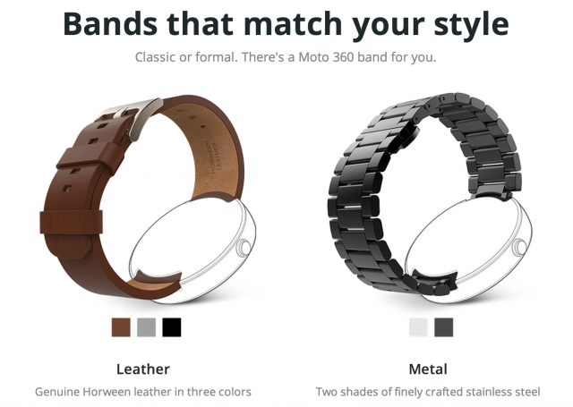 Motorola Moto 360 leather and metal bands