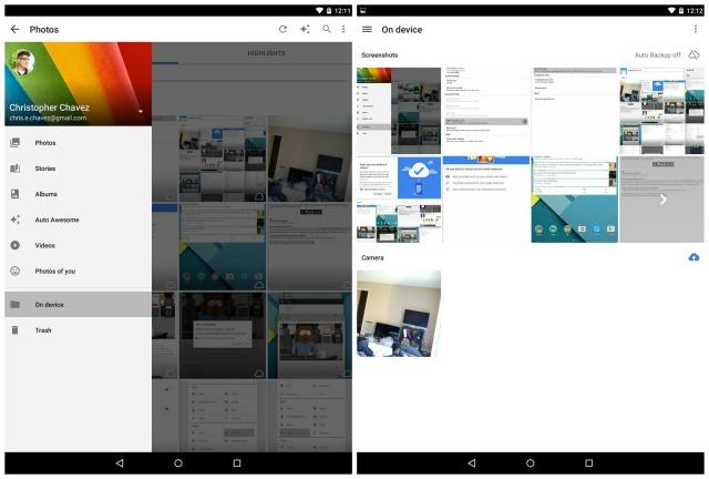 Nexus 9 Auto backup folders